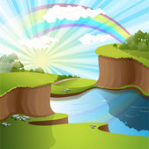 River and rainbow — Stock Vector