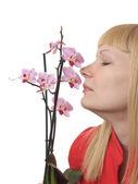 Stående med orkidé — Stockfoto