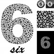 Six. Background with numbers — Stok Vektör