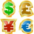 Vector dollar, euro, yen and pound signs. - Stock Vector