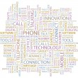 Stock Vector: PHONE. Seamless vector pattern with word cloud.