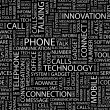 PHONE. Seamless vector pattern with word cloud. — Imagens vectoriais em stock