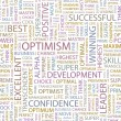 OPTIMISM. Seamless vector pattern with word cloud — Stok Vektör