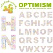 OPTIMISM. Vector letter collection — Stockvectorbeeld