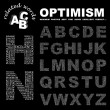 OPTIMISM. Vector letter collection — Imagens vectoriais em stock