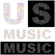 Постер, плакат: MUSIC Vector letter collection Illustration with different association te