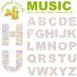 ������, ������: MUSIC Vector letter collection Illustration with different association te
