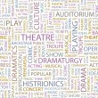 THEATRE. Word collage on black background. Illustration with different asso — Image vectorielle