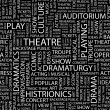 THEATRE. Word collage on black background. Illustration with different asso — Stock Vector