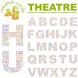 THEATRE. Word collage on black background. Illustration with different asso — Vettoriali Stock