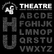 THEATRE. Word collage on black background. Illustration with different asso - Stock Vector