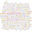 AGGRESSION. Word collage on white background. Vector illustration. — Stok Vektör