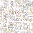 AGGRESSION. Word collage on white background. Vector illustration. — Stock vektor
