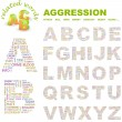 AGGRESSION. Word collage on white background. Vector illustration. — Wektor stockowy