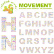 MOVEMENT. Word collage on white background. Vector illustration. — Stock Vector