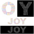 JOY. Vector letter collection. Illustration with different association term — Stock Vector