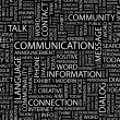 COMMUNICATION. Word collage on black background. — Stock Vector