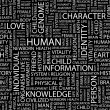 HUMAN. Word collage on black background. — Vettoriali Stock