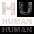 HUMAN.  Illustration with different association terms. — Stockvektor