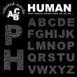 HUMAN. Word collage on black background. — Vektorgrafik