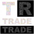 TRADE. Word collage on black background. — 图库矢量图片