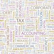 TAX.  Illustration with different association terms. - Stok Vektör