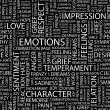 EMOTIONS. Word collage on black background. — Stock Vector