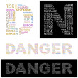 DANGER.  Illustration with different association terms. — Stock Vector
