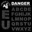 DANGER. Word collage on black background. — ベクター素材ストック