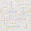 DESIGN. Seamless vector pattern with word cloud. — Stockvector