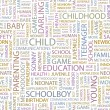 CHILD. Word collage on white background. — Stockvector