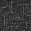 Vector de stock : CHILD. Seamless vector pattern with word cloud.