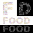 FOOD. Word collage on black background. — Stock vektor