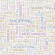 SHOPPING. Word collage on white background. — Stock Vector
