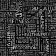 FITNESS. Seamless vector pattern with word cloud. — Imagen vectorial