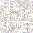 COFFEE. Seamless vector pattern with word cloud. — Stock Vector