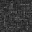 COFFEE. Word collage on black background. — Vector de stock