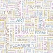 ART. Seamless vector pattern with word cloud. — Imagens vectoriais em stock
