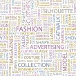 Royalty-Free Stock Vector Image: FASHION. Seamless vector pattern with word cloud.