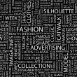FASHION. Seamless vector pattern with word cloud. - Stock Vector
