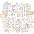 HOME. Word collage on white background. Vector illustration. — Imagens vectoriais em stock