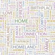HOME. Word collage on white background. Vector illustration. — ストックベクタ