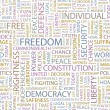 FREEDOM. Seamless vector pattern with word cloud. — Stockvectorbeeld