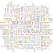 TECHNOLOGY. Seamless vector pattern with word cloud. — Stockvector