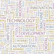 TECHNOLOGY. Seamless vector pattern with word cloud. — Stok Vektör