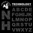 TECHNOLOGY. Vector letter collection. — Stockvectorbeeld