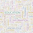 EDUCATION. Seamless vector pattern with word cloud. — Stock Vector