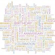 BIRTHDAY. Word collage on white background. — Stock vektor