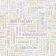 BIRTHDAY. Seamless vector pattern with word cloud. — Imagens vectoriais em stock