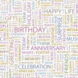BIRTHDAY. Seamless vector pattern with word cloud. — Imagen vectorial